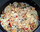 Photo de la recette Riz sauté à l\'ananas et aux crevettes