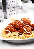 Photo de la recette Spaghettis aux boulettes de boeuf et à la sauce tomate